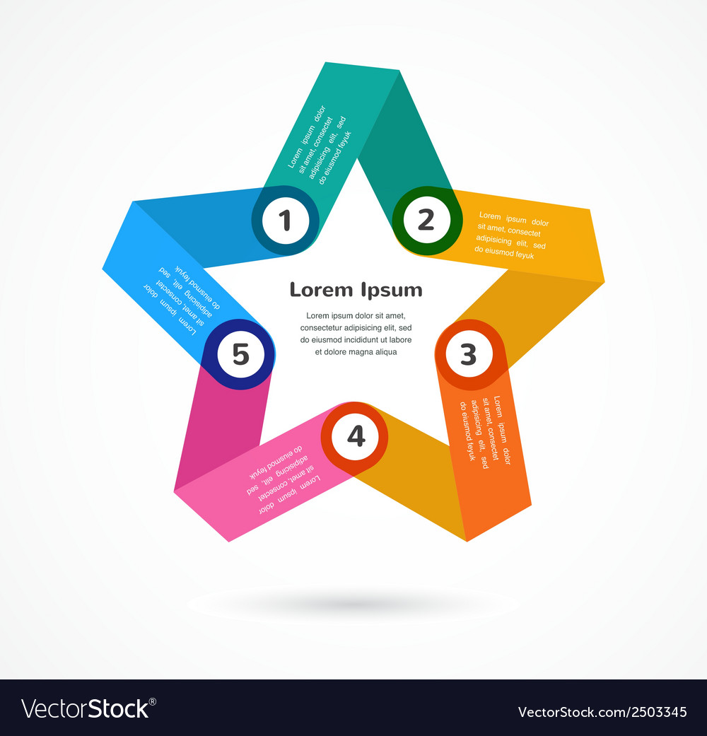 Abstract colorful background infographic with star vector | Price: 1 Credit (USD $1)