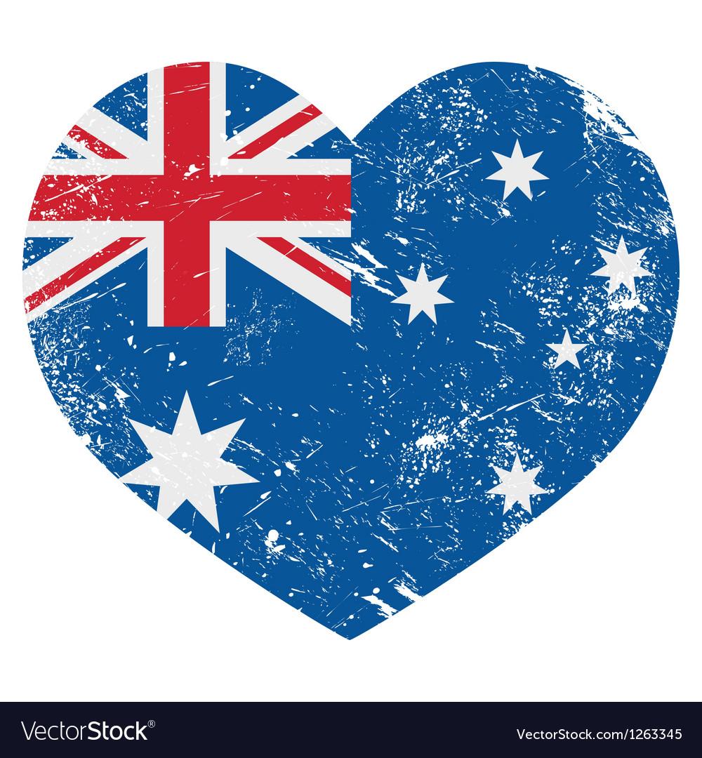 Australia retro heart flag vector | Price: 1 Credit (USD $1)