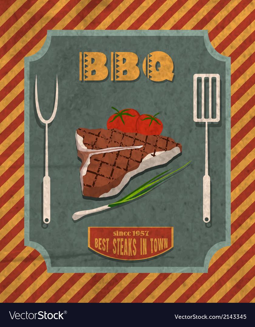Barbecue retro poster vector | Price: 1 Credit (USD $1)
