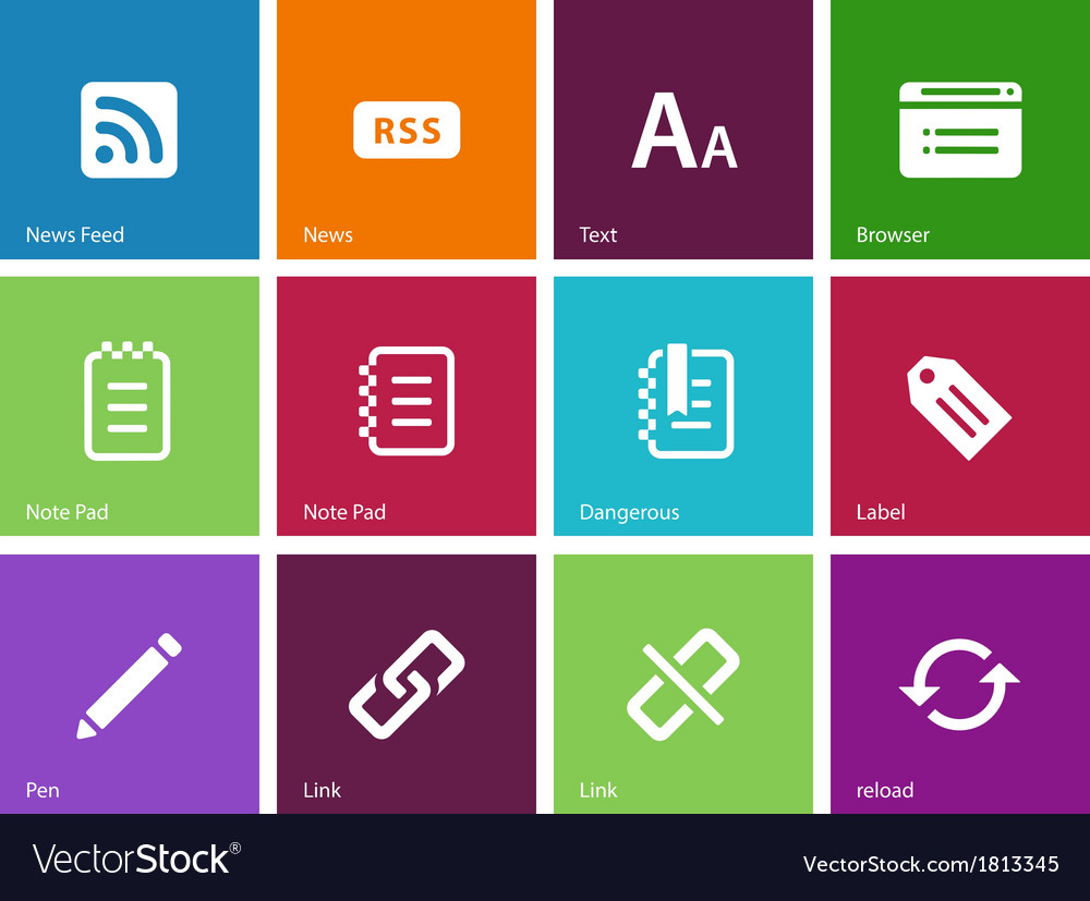 Blogger icons on color background vector | Price: 1 Credit (USD $1)