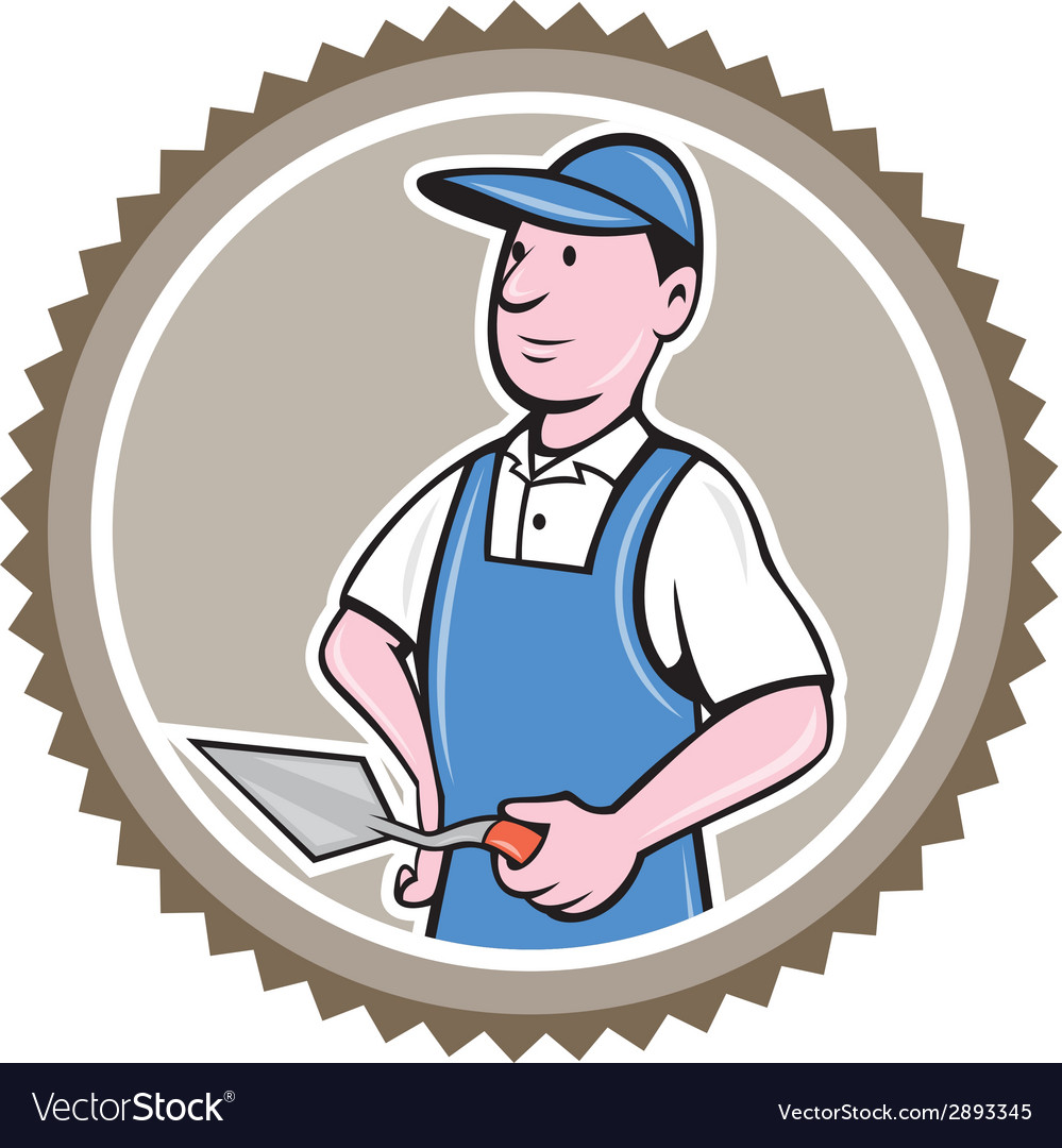 Bricklayer mason plasterer rosette cartoon vector | Price: 1 Credit (USD $1)