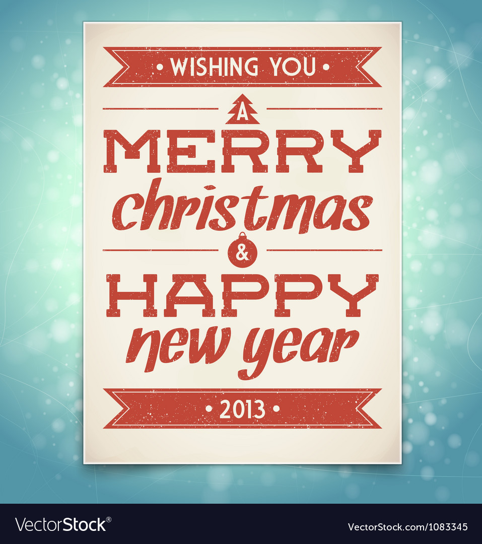 Christmas and new year greeting card with typograp vector | Price: 3 Credit (USD $3)