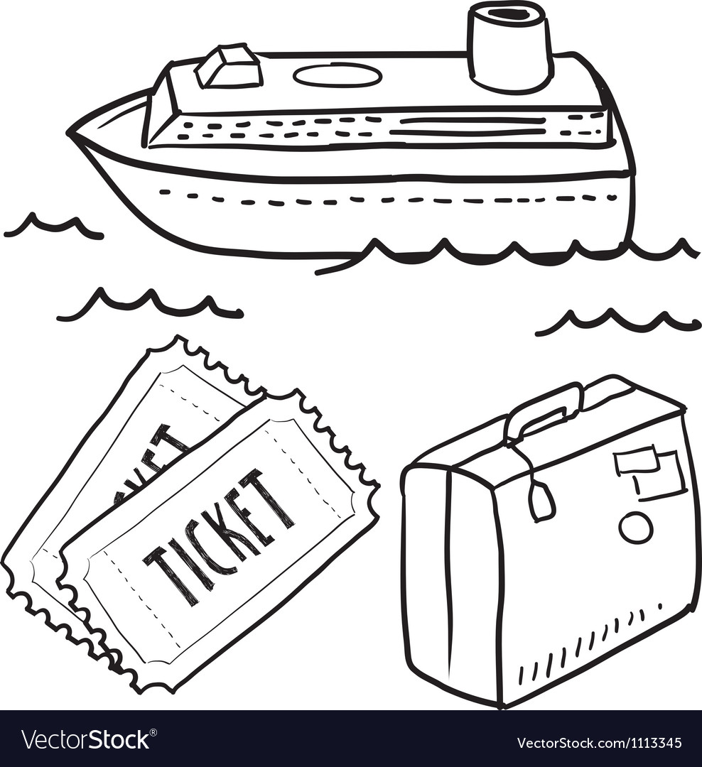 Doodle travel cruise ship vector | Price: 1 Credit (USD $1)
