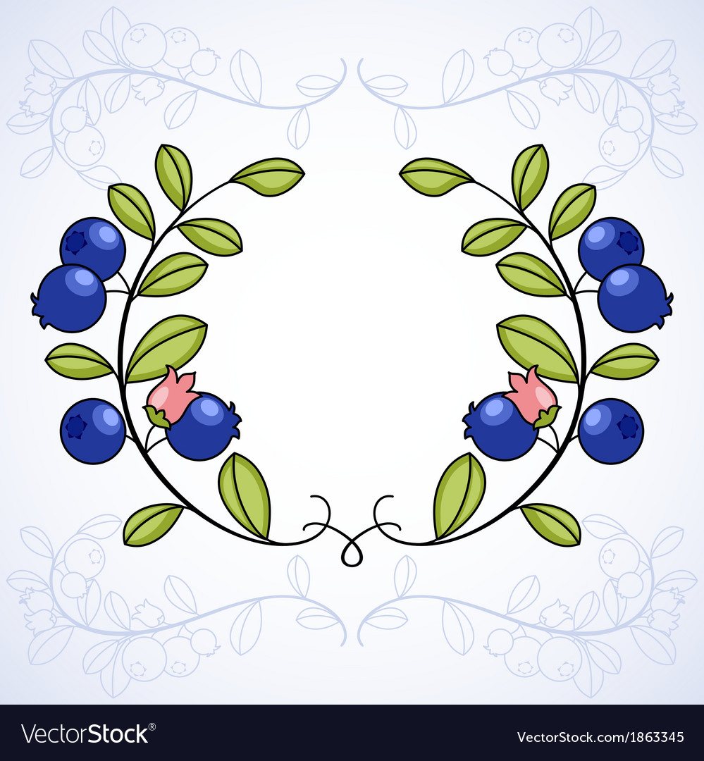 Elegant frame with blueberries vector   Price: 1 Credit (USD $1)