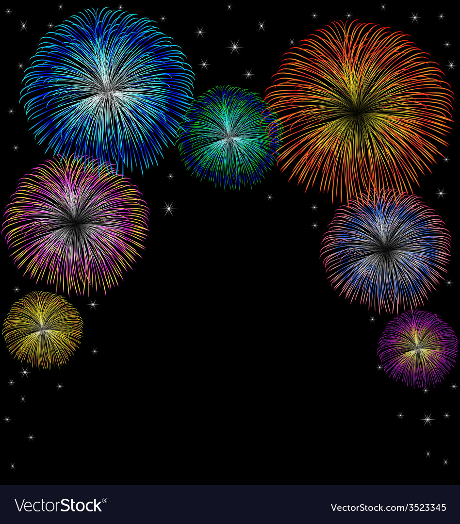 Fireworks with star on black background vector | Price: 1 Credit (USD $1)