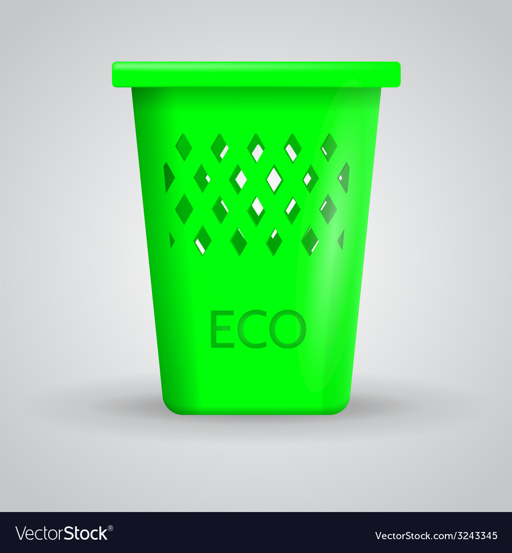 Green eco dustbin vector | Price: 1 Credit (USD $1)