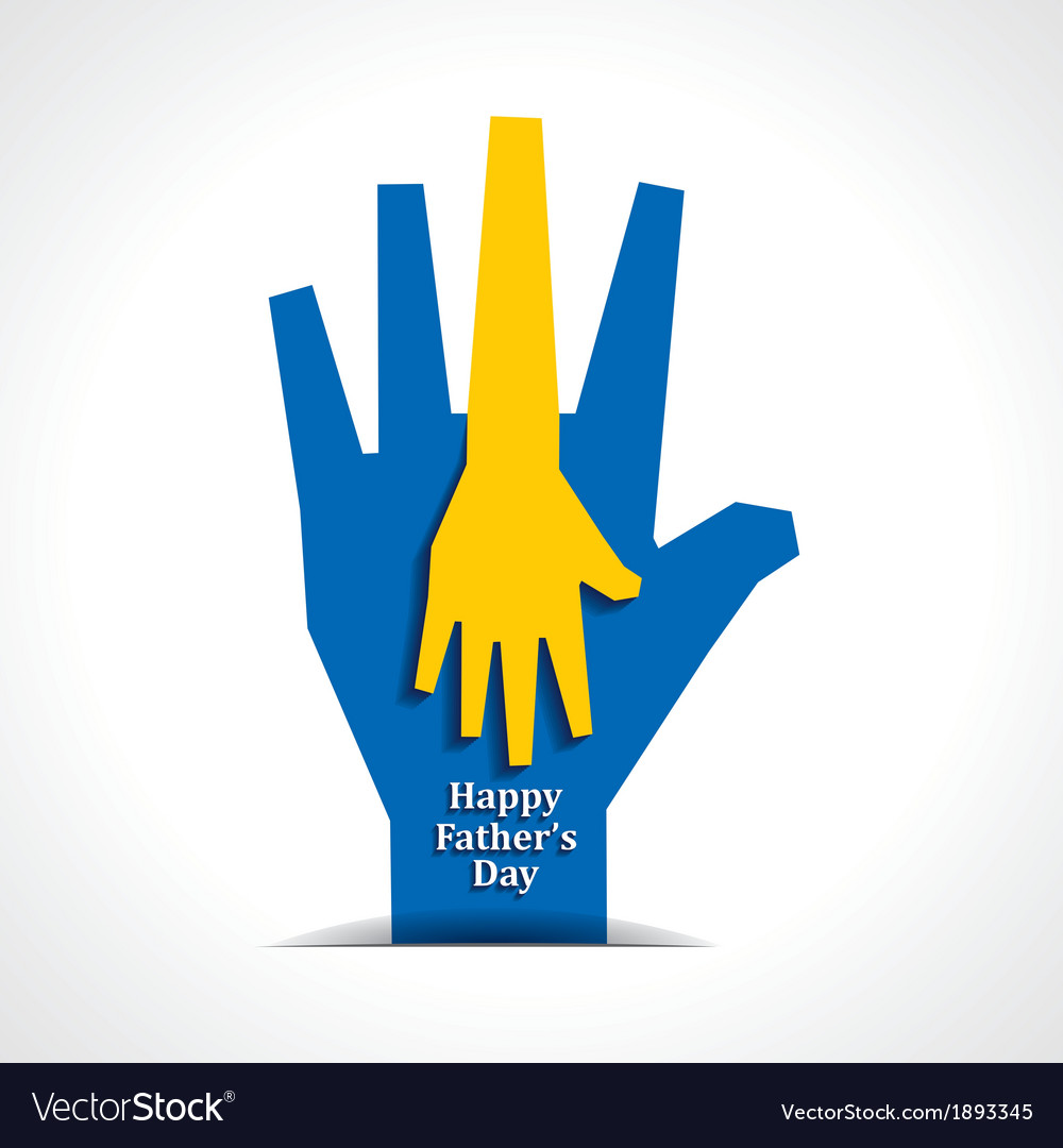 Happy fathers day with two hands of father  child vector | Price: 1 Credit (USD $1)