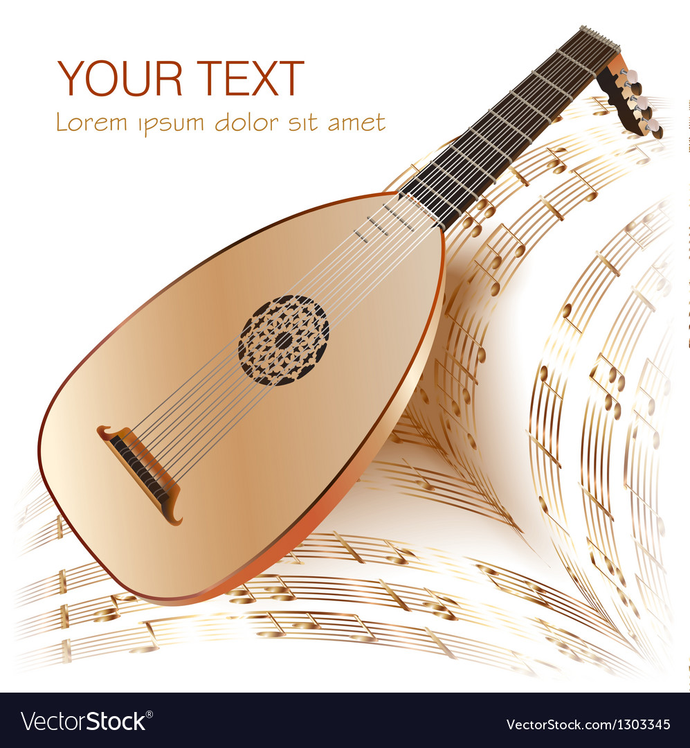 Late baroque era lute with musical notes vector