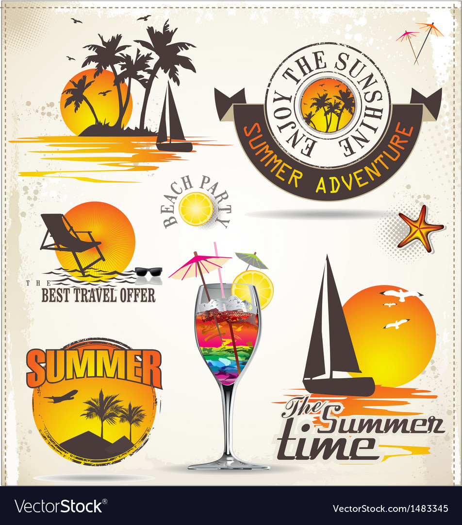 Summer vacation and travel labels vector | Price: 3 Credit (USD $3)