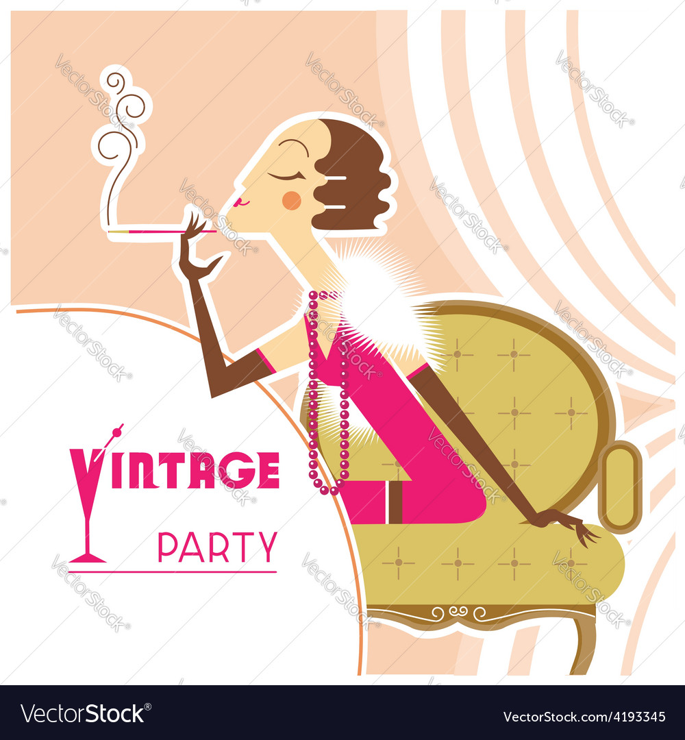 Vintage party flapper girl with sigaret vector | Price: 3 Credit (USD $3)