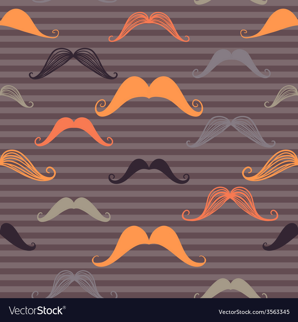 Vintage seamless pattern with mustache and stripes vector | Price: 1 Credit (USD $1)