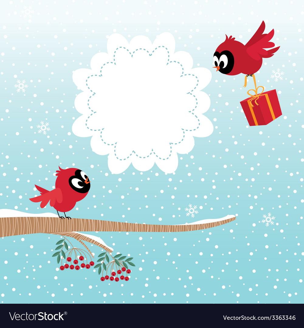 Birds in winter vector | Price: 1 Credit (USD $1)