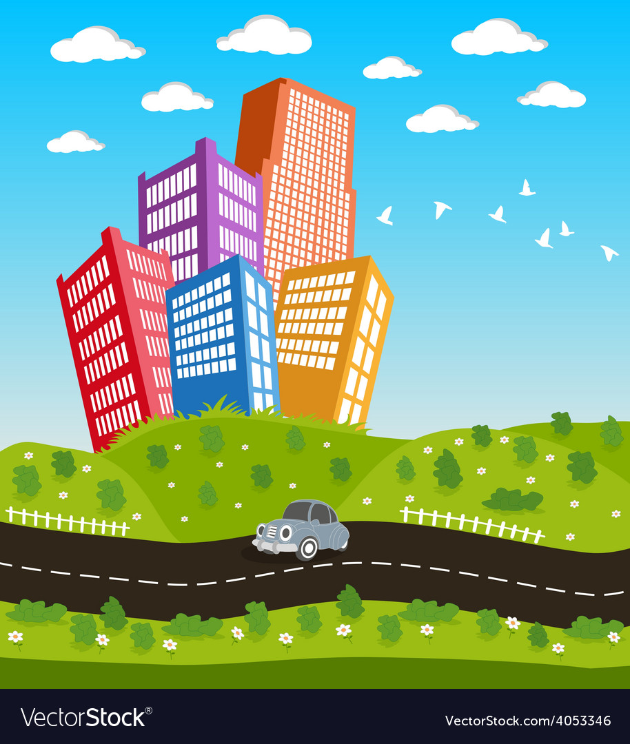 Cartoon downtown road landscape vector | Price: 1 Credit (USD $1)