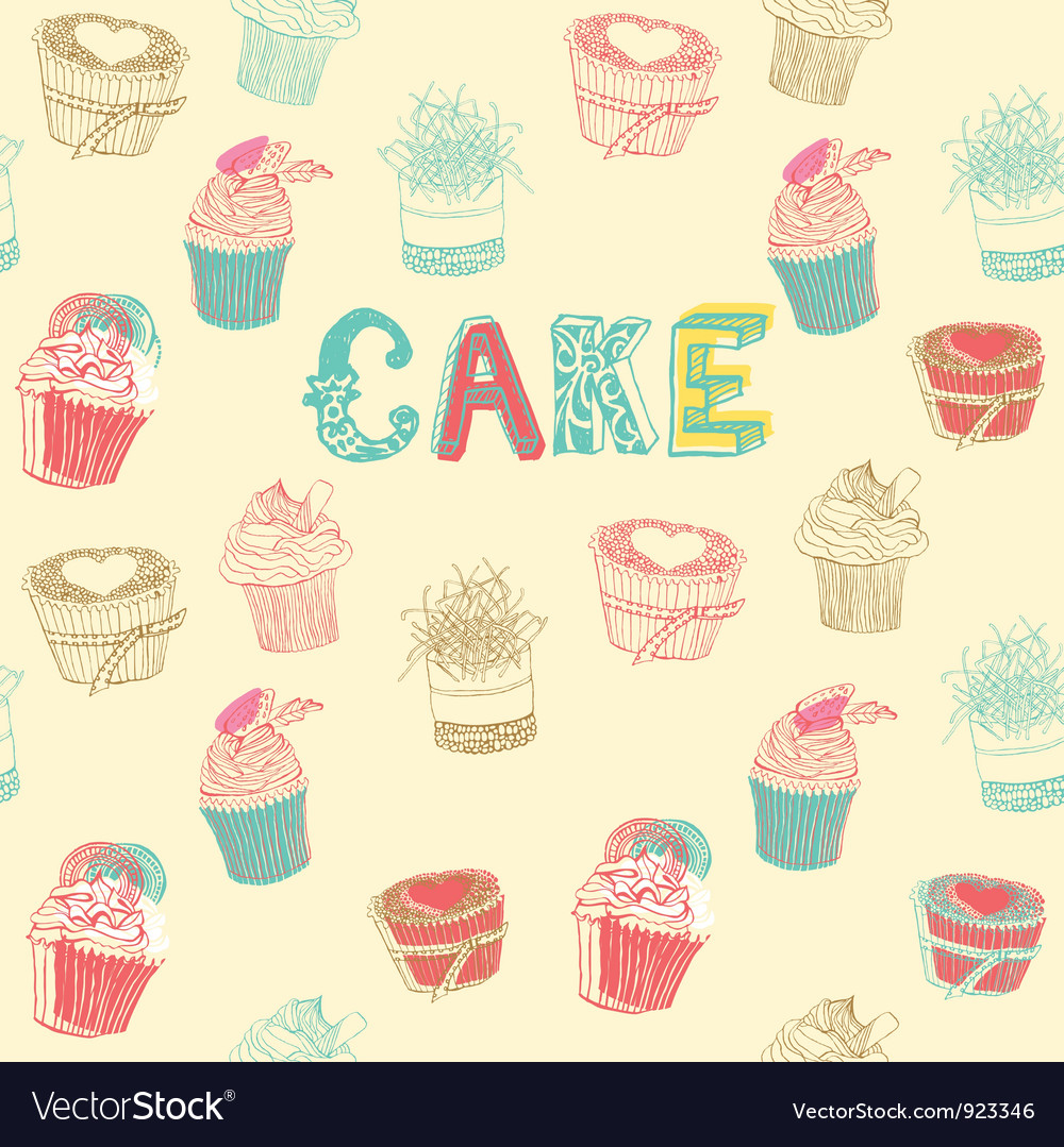 Cupcakes pattern background vector | Price: 1 Credit (USD $1)