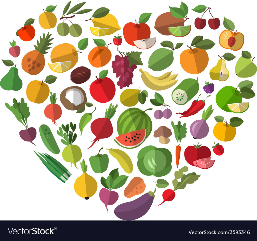 Food heart vegetables and fruit set of icons vector