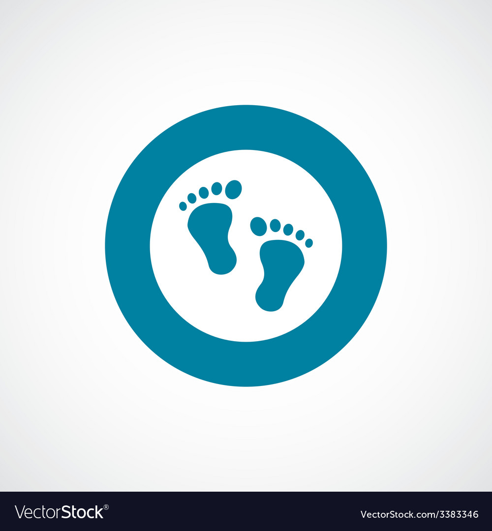 Footprints bold blue border circle icon vector | Price: 1 Credit (USD $1)