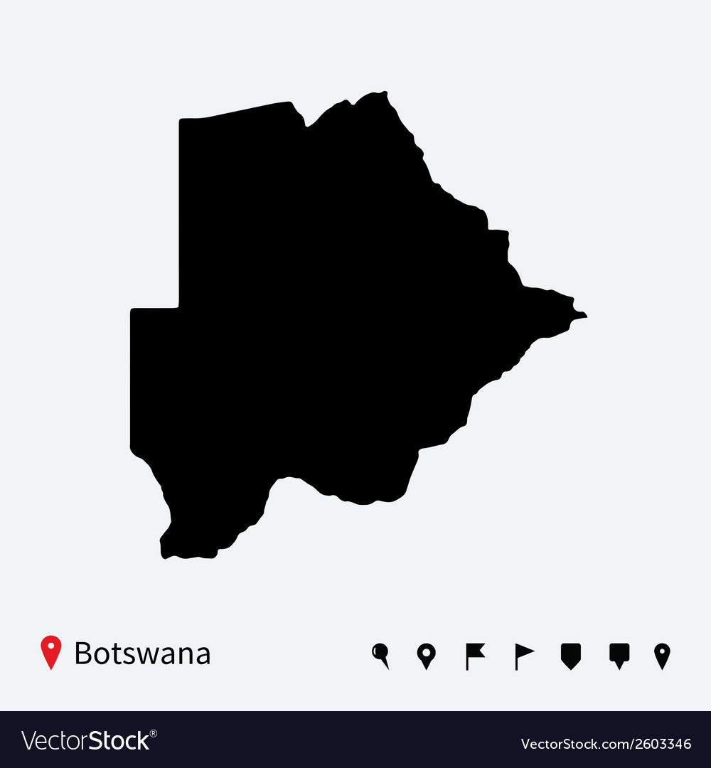 High detailed map of botswana with navigation pins vector | Price: 1 Credit (USD $1)