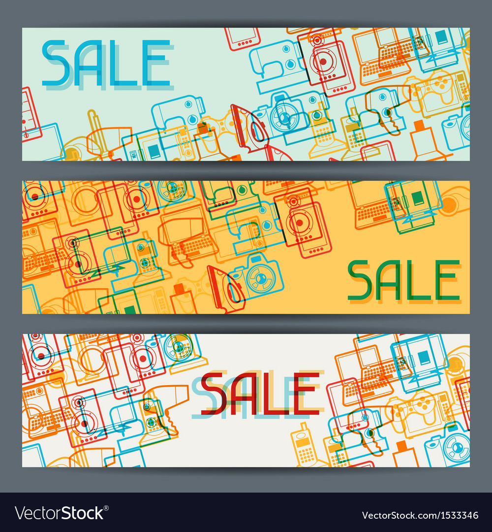 Home appliances and electronics horizontal banners vector | Price: 1 Credit (USD $1)