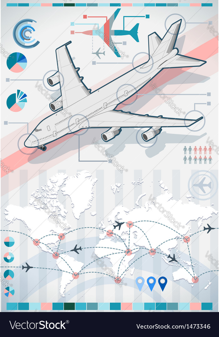 Infographic set elements with airplane in various vector | Price: 1 Credit (USD $1)