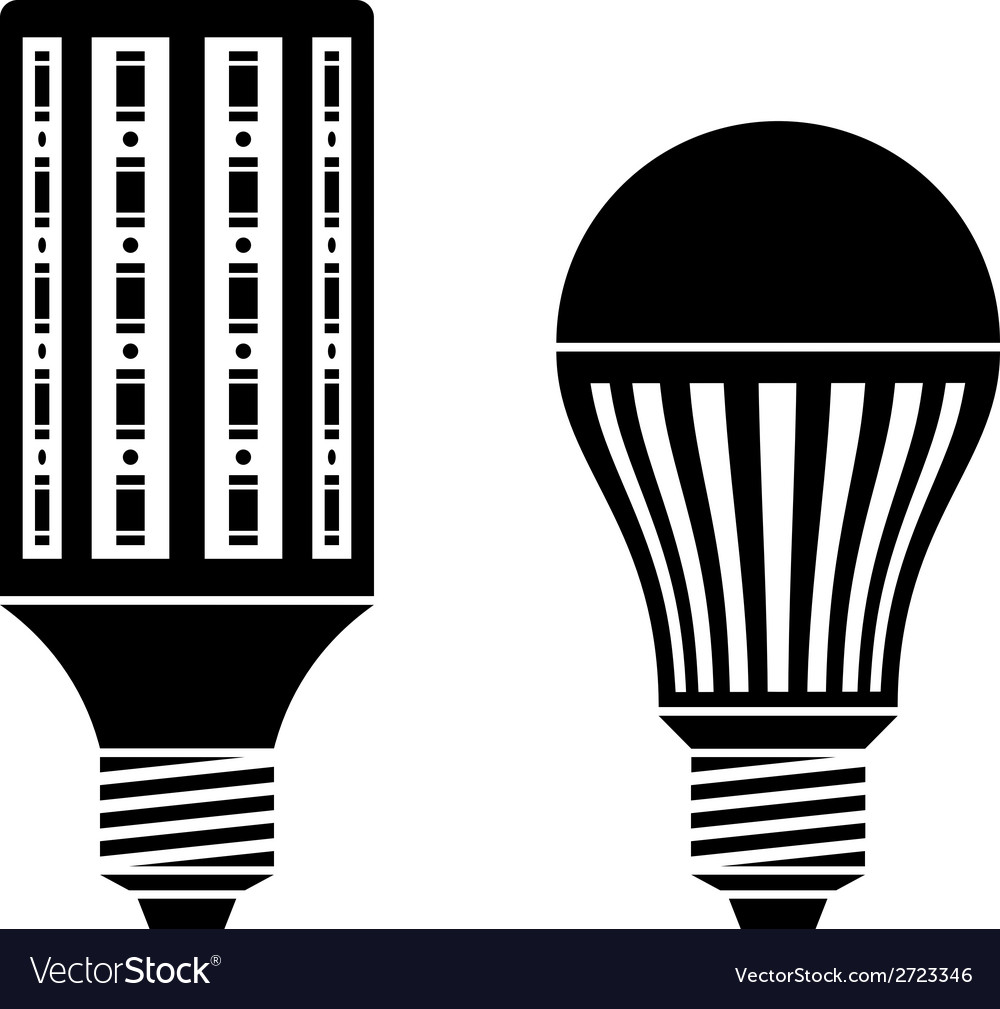 Led energy saving lamp bulb symbols vector | Price: 1 Credit (USD $1)