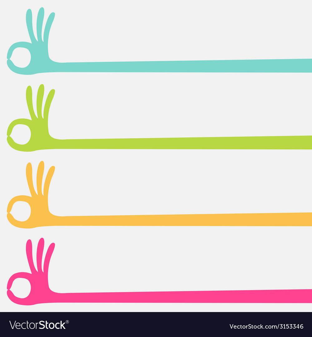 Ok hand multicolor vector | Price: 1 Credit (USD $1)