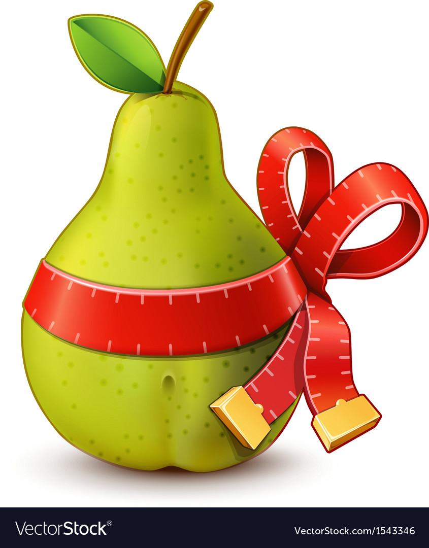 Pear with measure tape ribbon bow vector | Price: 1 Credit (USD $1)