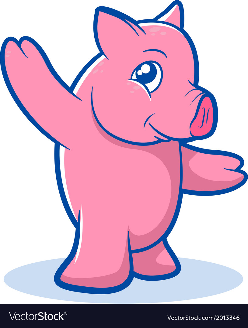 Pink pig cartoon vector | Price: 1 Credit (USD $1)