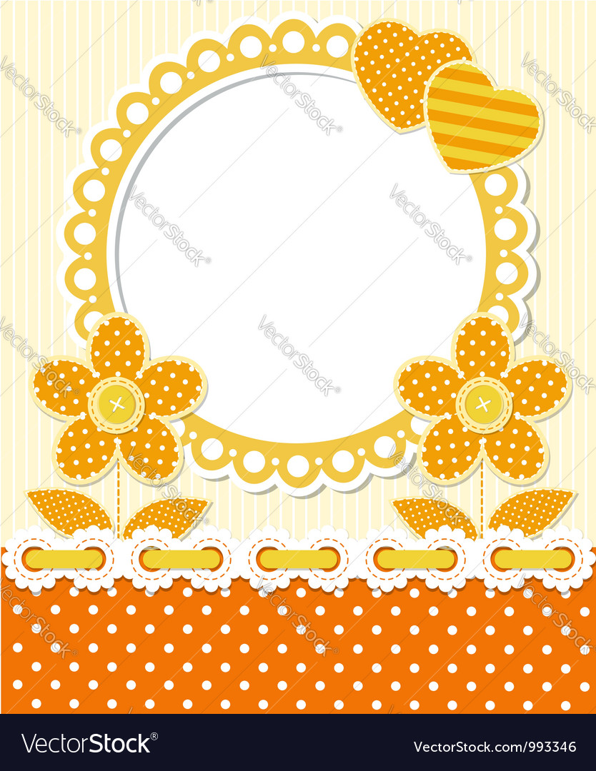 Retro style scrapbook floral frame vector | Price:  Credit (USD $)