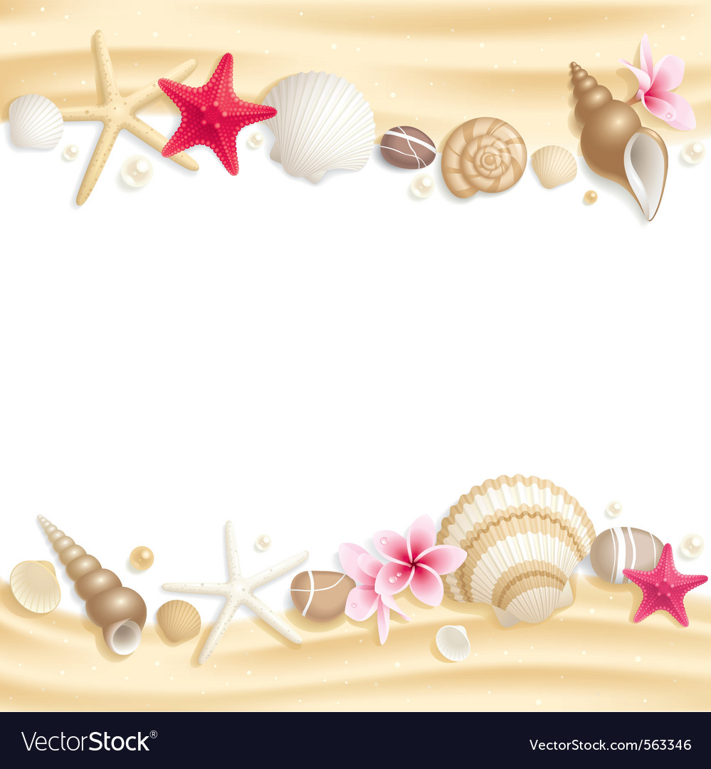 Seashell frame vector | Price: 3 Credit (USD $3)