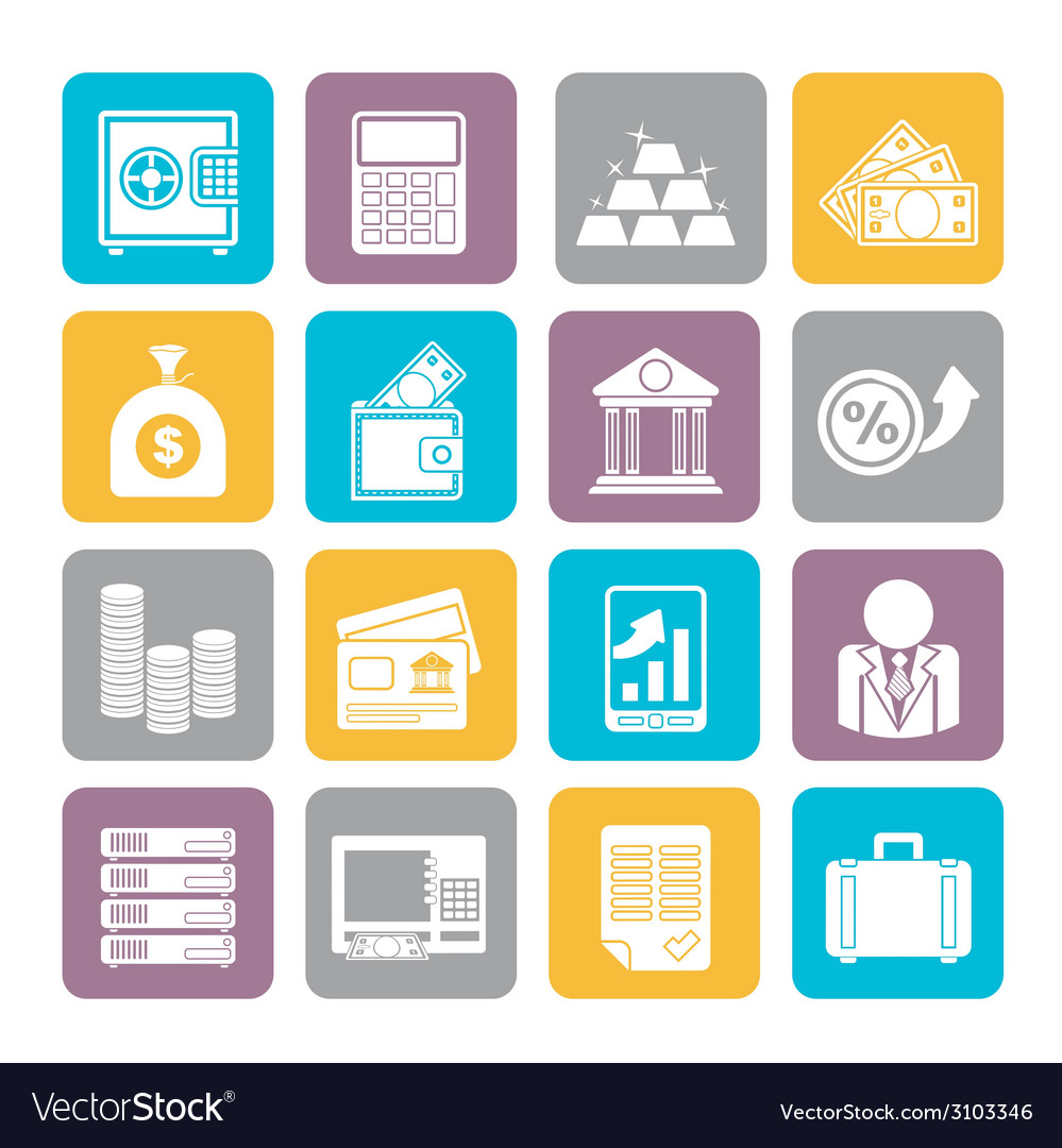 Silhouette bank and finance icons vector | Price: 1 Credit (USD $1)