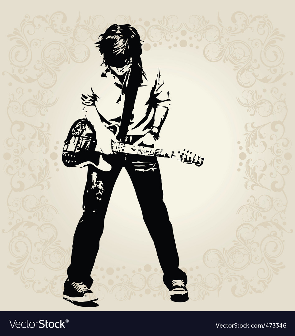 Teen guitar player vector