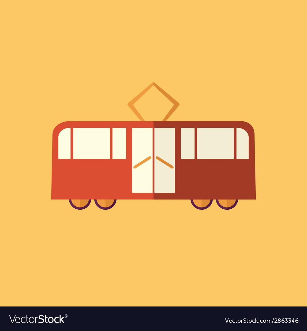 Tram transportation flat icon vector | Price: 1 Credit (USD $1)