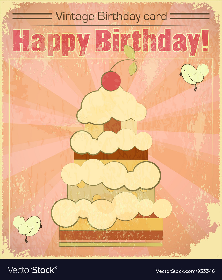 Vintage birthday card with big berry cake vector | Price: 1 Credit (USD $1)