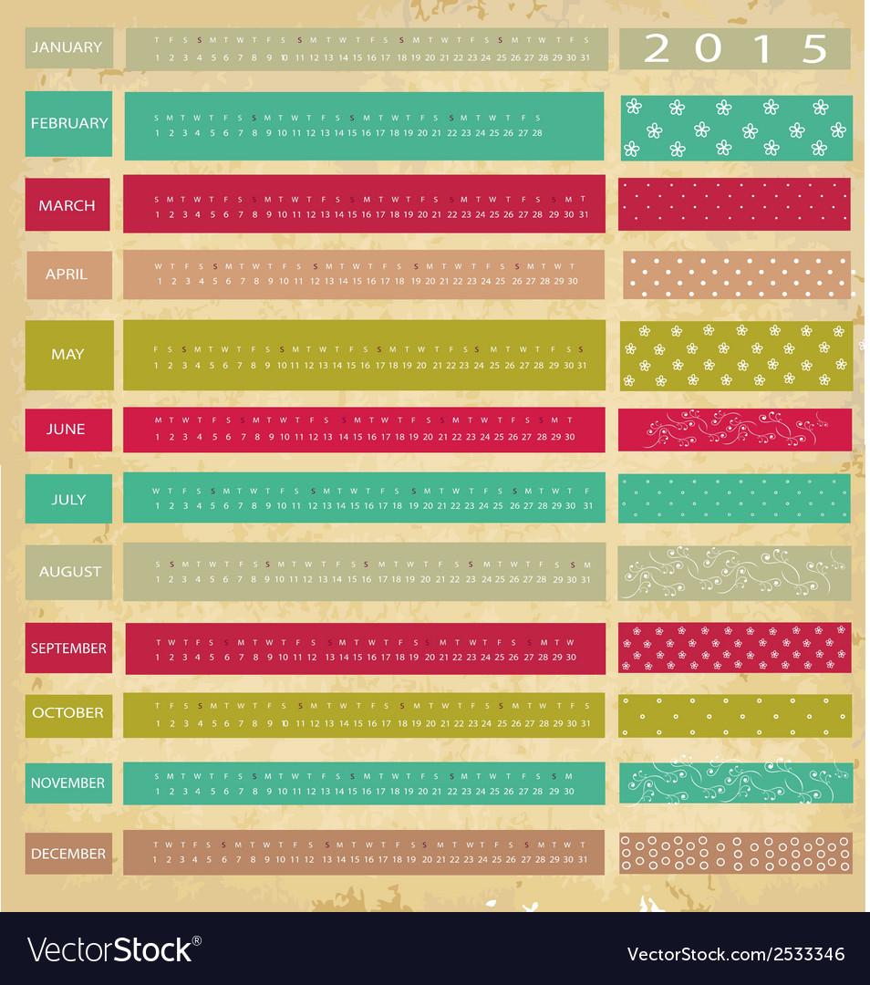 Vintage calendar for 2015 vector | Price: 1 Credit (USD $1)