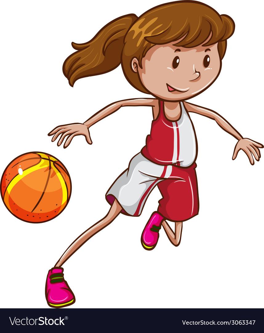 A girl playing basketball vector | Price: 1 Credit (USD $1)