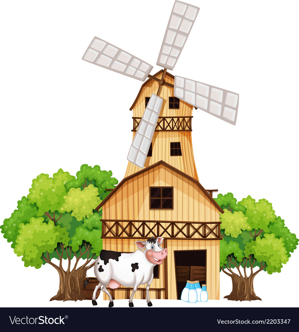A milking cow outside the barnhouse vector | Price: 3 Credit (USD $3)