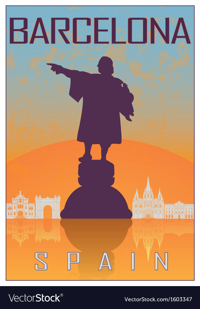 Barcelona vintage poster vector | Price: 1 Credit (USD $1)