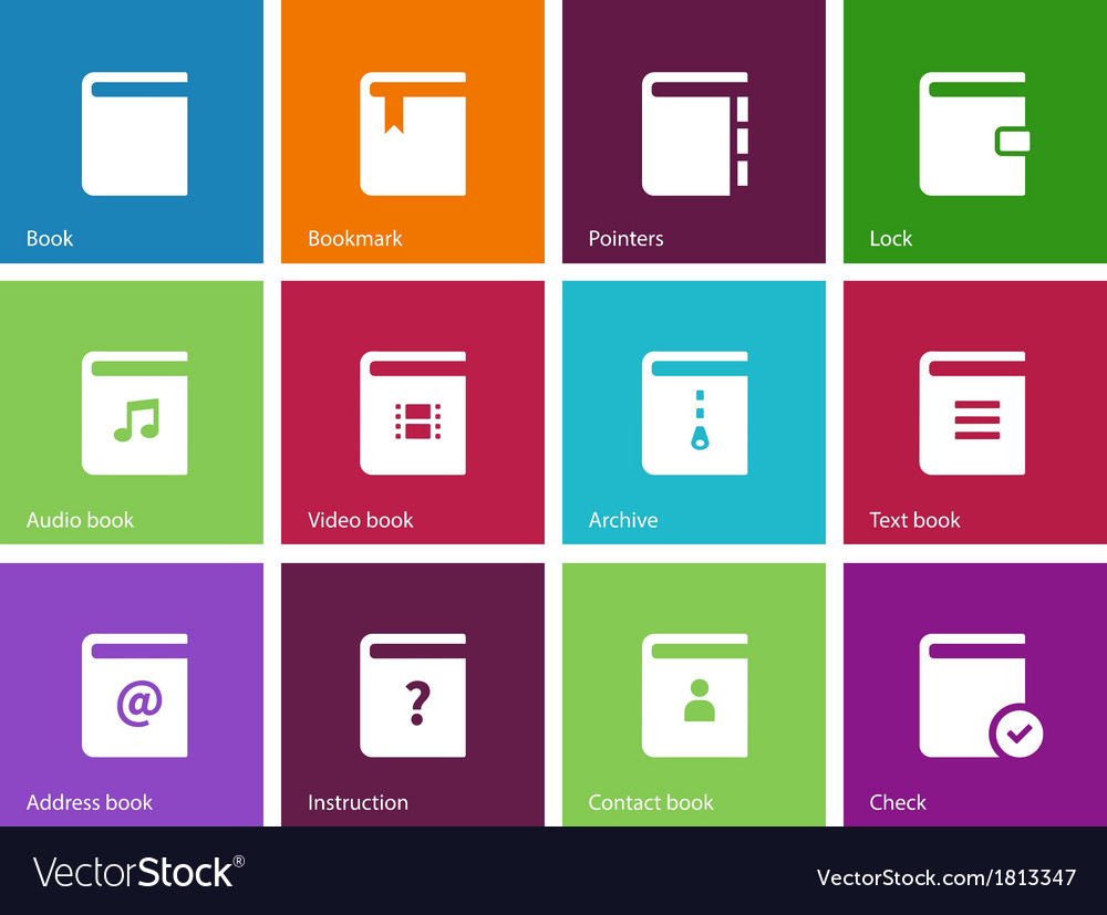Book icons on color background vector | Price: 1 Credit (USD $1)