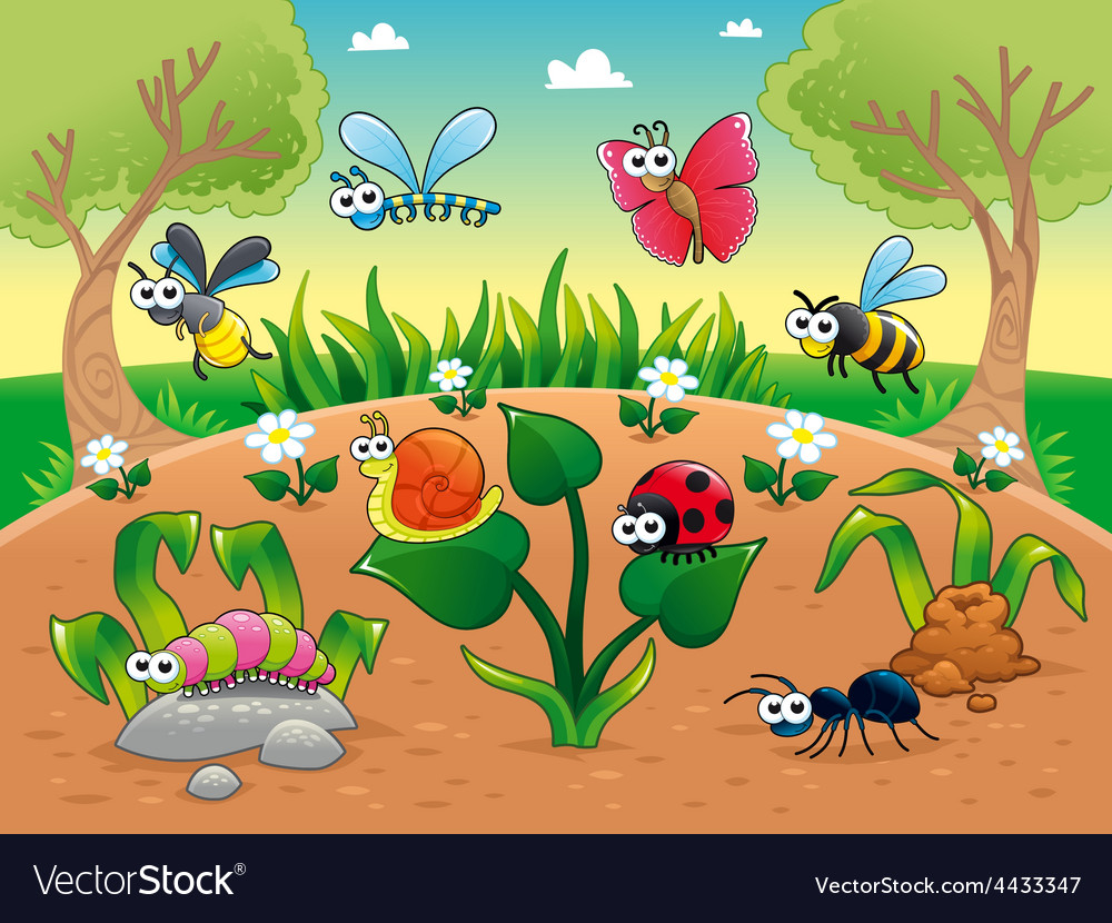 Bugs 1 snail with background vector | Price: 5 Credit (USD $5)