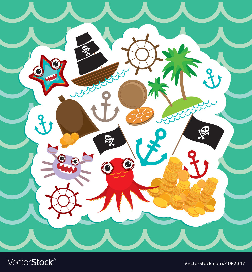 Card pirate cute party invitation animals design vector | Price: 1 Credit (USD $1)