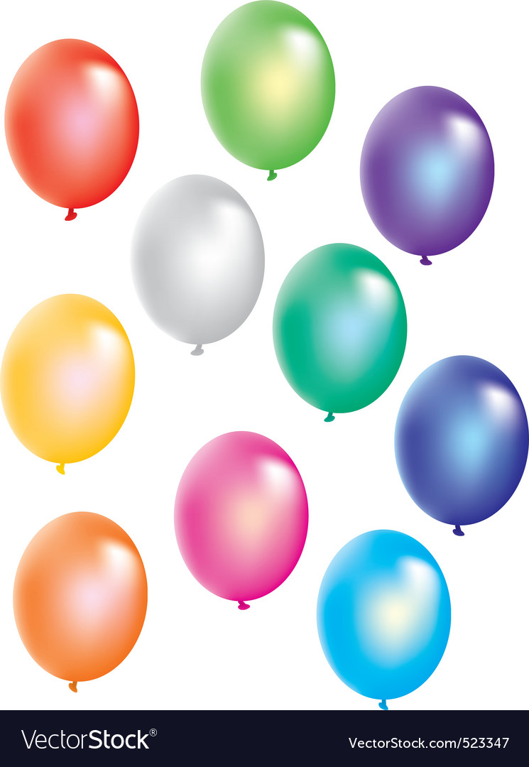 Colorful balloons on white background vector | Price: 1 Credit (USD $1)