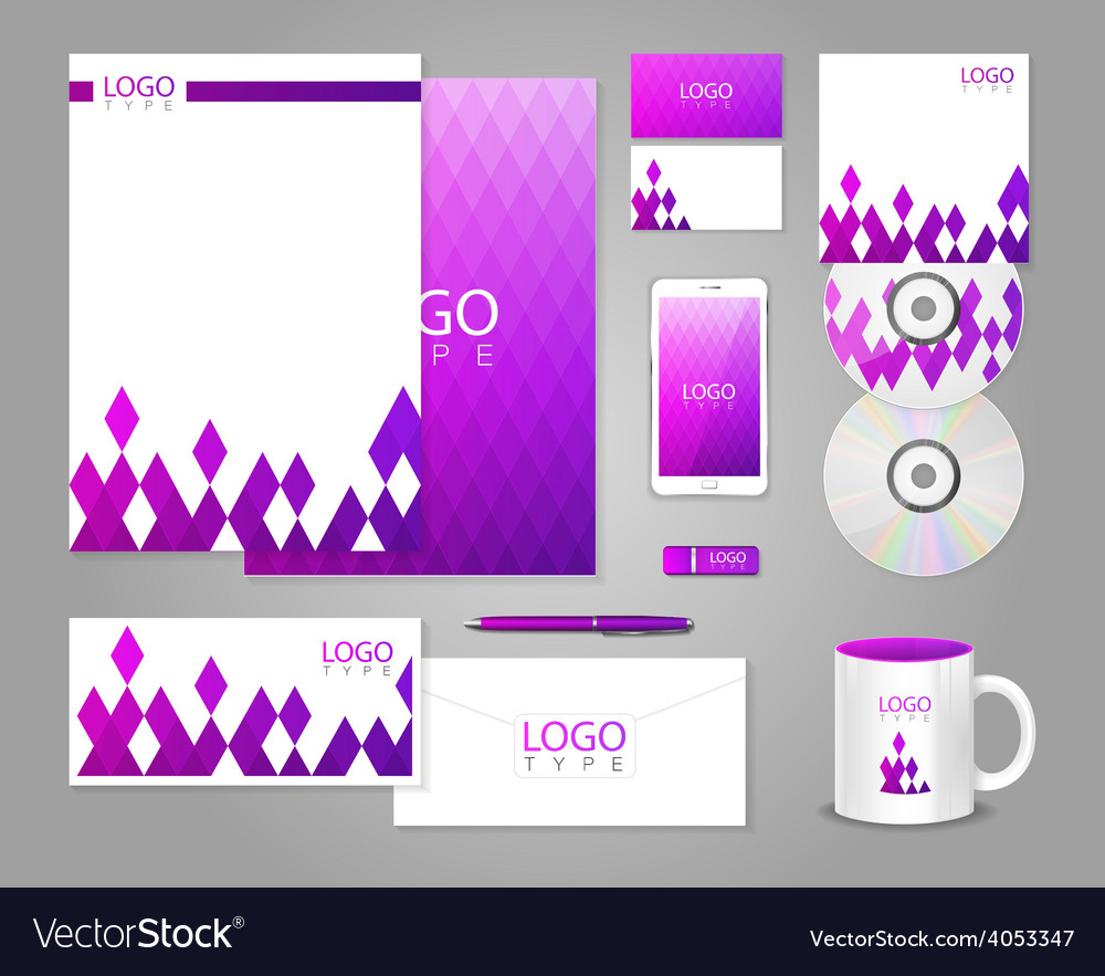 Corporate identity template with purple rhombuses vector   Price: 1 Credit (USD $1)