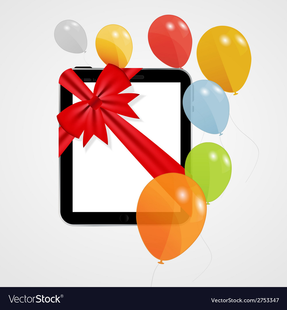 Digital tablet gift with balloons vector | Price: 1 Credit (USD $1)