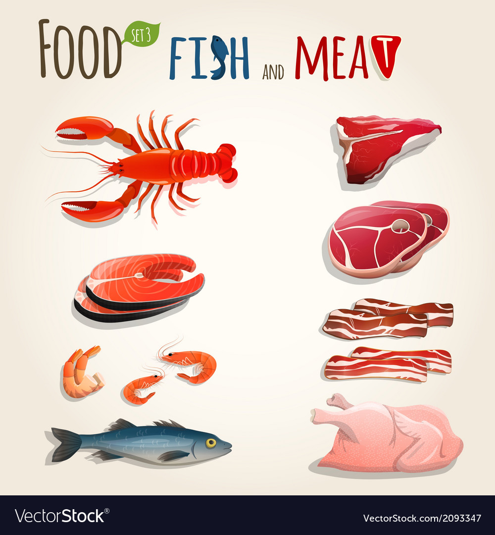 Fish and meat set vector | Price: 1 Credit (USD $1)