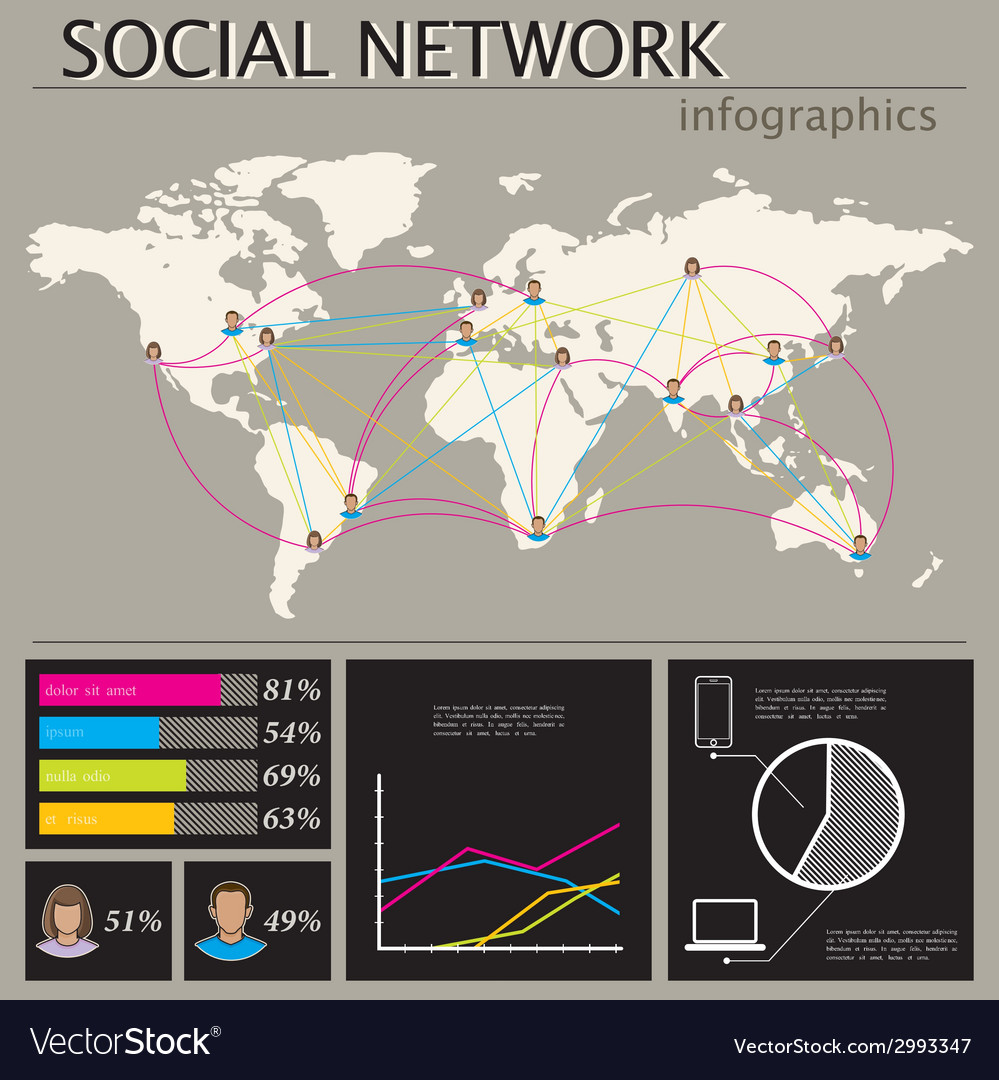 Infographic with world map social network vector | Price: 1 Credit (USD $1)