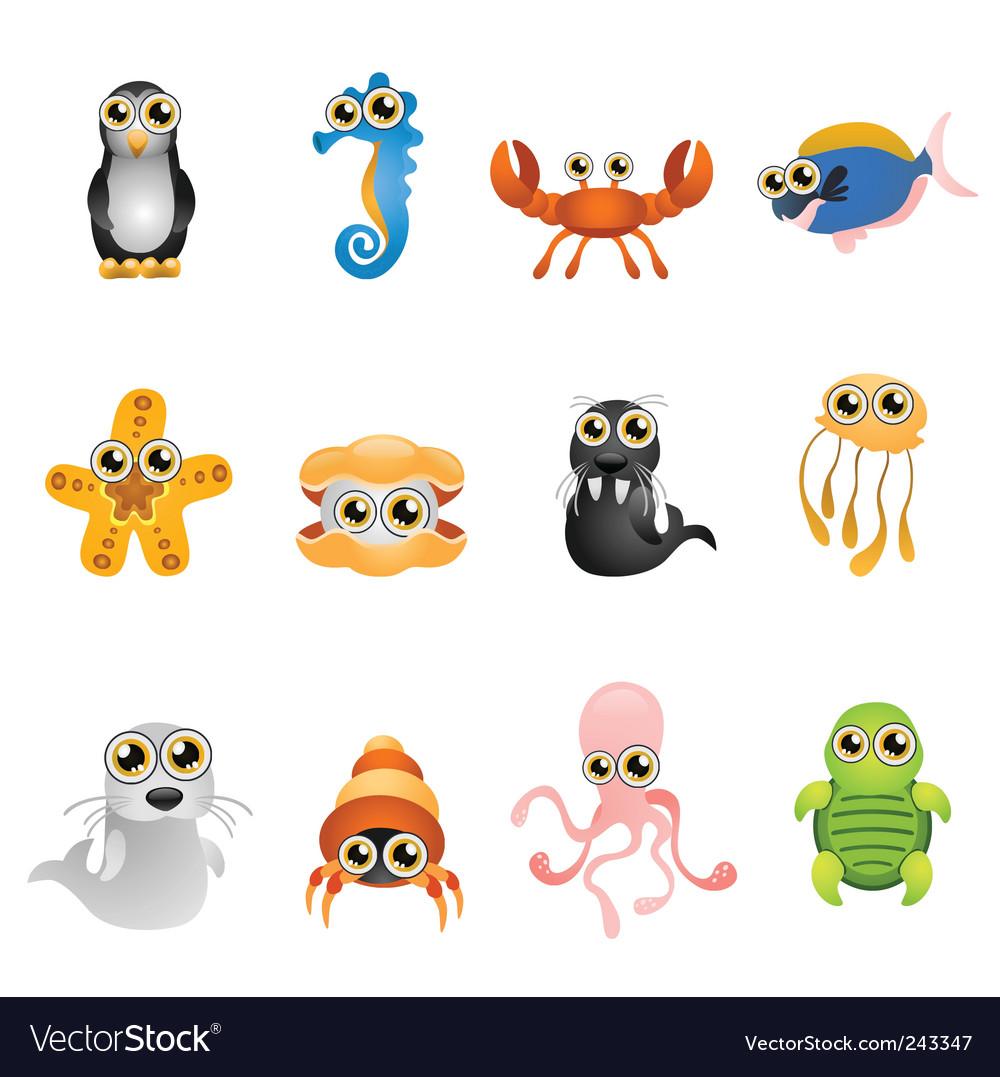 Marine life animals set vector | Price: 1 Credit (USD $1)