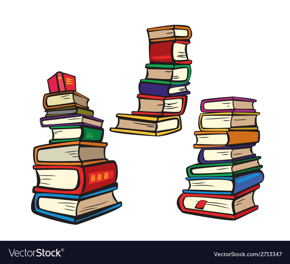Stack of books collection multicolor vector | Price: 1 Credit (USD $1)