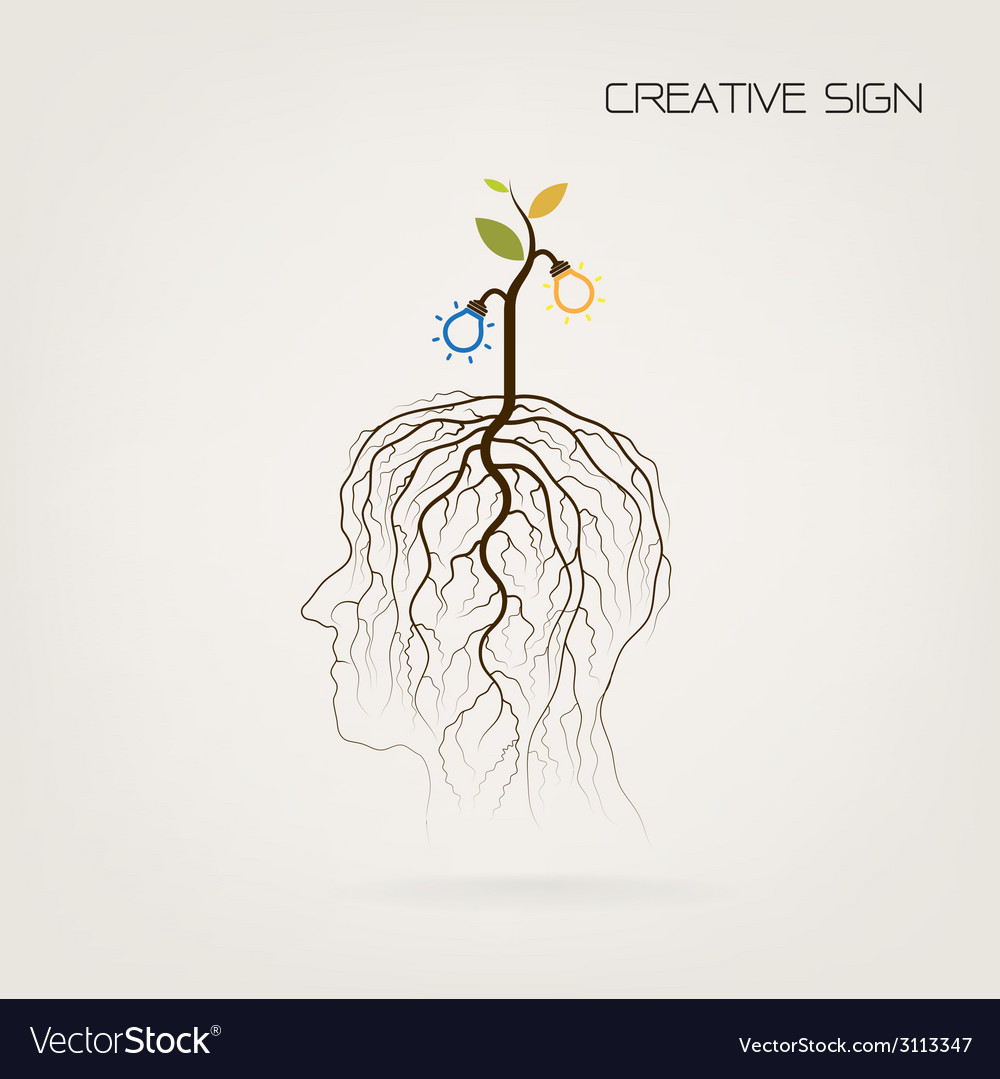 Tree of knowledge shoot grow on human head symbol vector | Price: 1 Credit (USD $1)