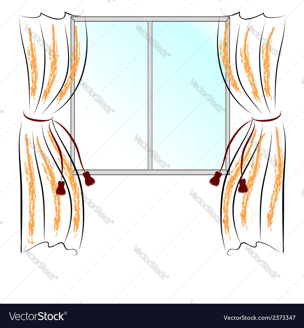 Window and curtains vector | Price: 1 Credit (USD $1)