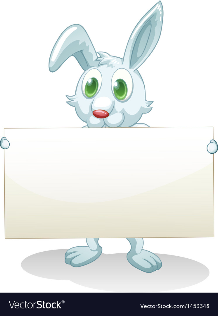 A bunny holding an empty banner vector | Price: 1 Credit (USD $1)